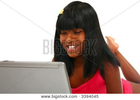 Beautiful Indian Girl With Laptop