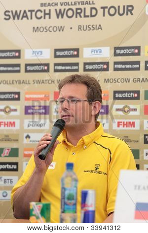MOSCOW, RUSSIA - JUNE 6: FIVB technical supervisor Dirk Decher during a press conference of opening the Beach Volleyball Swatch World Tour in Moscow, Russia at June 6, 2012.