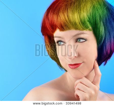 Unique Rainbow Hair Woman on Blue