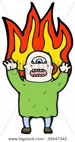 monstruo llameante de ogro de dibujos animados
