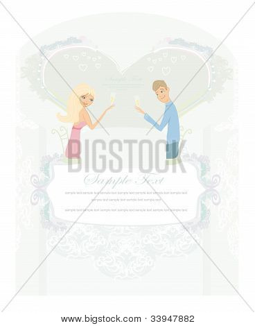 Young couple flirt and drink champagne - invitation card