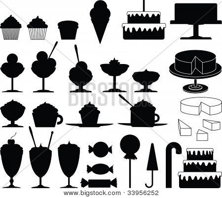 Cakes, sweets, candies and ice cream vector collection