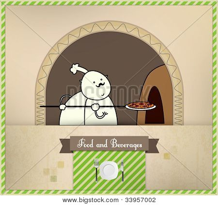 Chef Placing Pizza in Oven | Food and Beverages Series | Layered Eps10 Vector Graphic