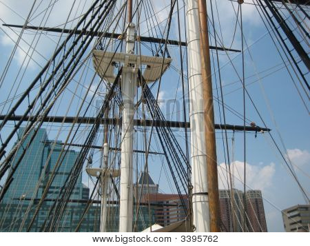 Close Up View Of The Ship Mastheads