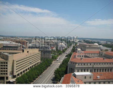 Aerial View Of The Capitol Building In Washington, Dc