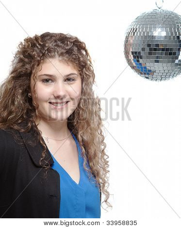 Young woman with disco ball - isolated over white background.