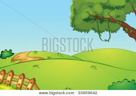 Illustration of a field and a fence