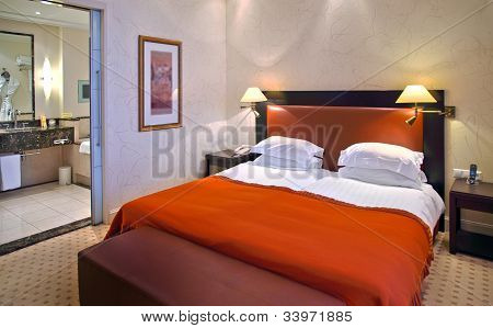 Modern Bedroom In Hotel