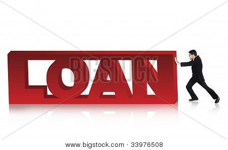 Businessman With Loan Sign