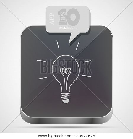 Vector Idea App Icon With Gray Bubble Speech. Eps10