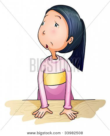 Illustration of worried and confused girl - .