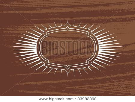 Vector Burst Frame and Wood Background. Easy to edit. Perfect for invitations or announcements.