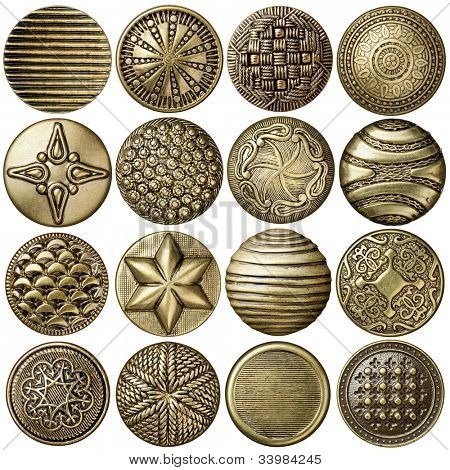 Bronze sewing buttons collection, isolated