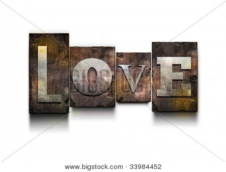 "The word ""Love"". Random letterpress type on grunge background."