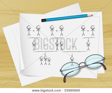 Illustration of glasses, pencil and notes on paper - EPS VECTOR format also available in my portfolio.