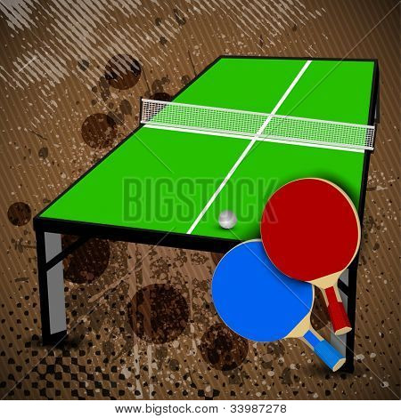 Two table tennis or ping pong rackets and ball on a green table with net, shallow focus on rackets on grungy brown background. EPS 10.