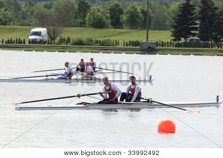 MOSCOW, RUSSIA - JUNE 9: Pair boats after the sweep rowing competition during 51th International Grand Moscow Regatta in Moscow, Russia on June 9, 2012