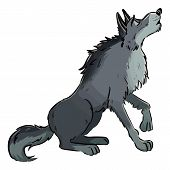 Wolf Howling On The Moon. Dog Or Wolf Lineart Cartoon Illustration. Canine In Lineart Style Art. Wil poster