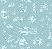 Marine Drawings, Seamless Pattern, Color, Light, Gray, Vector/marine Drawings, Seamless Pattern, Col poster