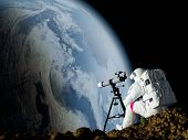 An astronaut looks through a telescope at Earth.Elemen ts of this image furnished by NASA.3d rende poster