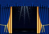 Vector Realistic Classic Blue And Gold Stage Curtains Frame With Spotlights, Flying Glitter. Luxury  poster