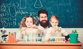 Fascinating Biology Lesson. Man Bearded Teacher Work With Microscope And Test Tubes In Biology Class poster