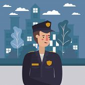 Policeman At The City Design, Working Occupation Person Job Corporate Employee And Service Theme Vec poster