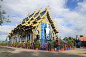 Chiang Rai Wat Rong Seur Ten (blue Temple) Is A Modern Buddhist Temple With Blue Color And Elaborate poster