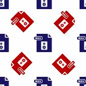 Blue And Red Wav File Document. Download Wav Button Icon Isolated Seamless Pattern On White Backgrou poster