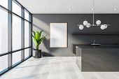 Panoramic Gray Kitchen With Island And Poster poster