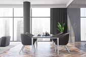 Luxury Gray Panel Dining Room Interior poster