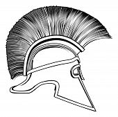 picture of hoplite  - Black and white illustration of a side on ancient Greek Warrior helmet Spartan helmet Roman helmet or Trojan helmet - JPG