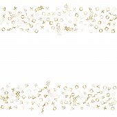 Memphis Style Gold Geometric Confetti Vector Background With Triangle, Circle, Square Shapes, Zigzag poster