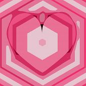 Pink Coral Tender Card Template With Hexagonal Elements And Frame Heart. Pastel Pink Lines On The Ba poster