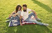 Independence Day. National Holiday. Bearded Hipster And Girl In Love. 4th Of July. American Traditio poster