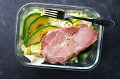 Keto Bowl. Lots Of Lettuce, Green Vegetables, Avocados, Olive Oil And Juicy Baked Meat. For A Ketoge poster