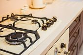Creamy Gas Stove With Oven In Retro Style Kitchen. Provence Kitchen Retro Gas Stove Burner & Oven In poster
