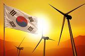 Republic Of Korea (south Korea) Wind Energy, Alternative Energy Environment Concept With Turbines An poster