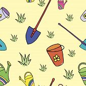 Spring Pattern, Spring Doodle Background, Garden Pattern, Seamless Vector Pattern Hand-drawn Doodle  poster