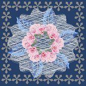 Square Flower Arrangement. Vintage Floral Pattern For Scarves, Postcards, Carpets, Bandanas, Napkins poster