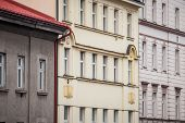 Facade Of Old Residential Buildings From The 1930s In The City Center Of Prague, Czech Republic, Use poster