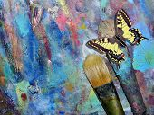 Palette For Oil Paints With Brushes And Palette Knife And Motivational Frame With Butterfly On Shabb poster