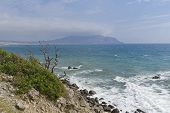 Crimea. Clouds And Haze Over Kapsel Bay. View From Cape Alchak Towards Cape Meganom. poster