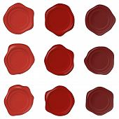 Set Of Realistic Wax Seal Stamps On A White Background. Realistic Blank Wax Seals Of Different Shape poster
