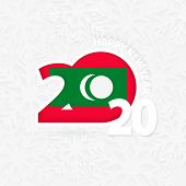 Happy New Year 2020 For Maldives On Snowflake Background. Greeting Maldives With New 2020 Year. poster