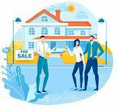 Buying House, Real Estate Property On Sale Flat Vector Concept With Real Estate Agency Agent, Seller poster