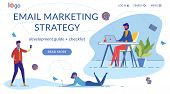 Email Marketing Landing Page Flat Vector Template. Office Internet Correspondence Web Banner. Newsle poster