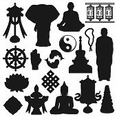 Buddhist Religious Icons, Buddhism Religion And Meditation Symbols. Vector Buddhist Monk In Meditati poster