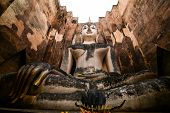 Wat Si Chum, Giant Buddha Statue In Sukhothai poster
