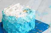 Happy First Birthday Cake On Blue Space Background. Birthday Greetings. Boy Birthday. Cake Smash Fir poster